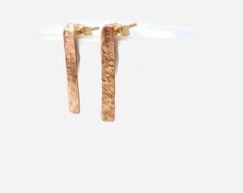 Gold Bar Stud Earrings, Dainty Earrings, Tiny Bar Earrings, Simple Bar Stud Earrings