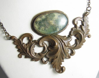 Vintage Moss Necklace - Bronze Stamping with Moss Agate in Copper