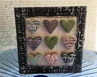 mixed media art with pink and hearts- polymer clay heart art block