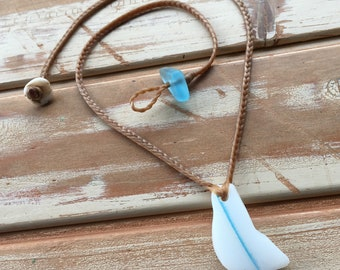 Milkglass seaglass with blue line mermaid friendly necklace