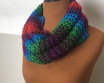 Handmade knit cowl neck scarf, rainbow, chunky