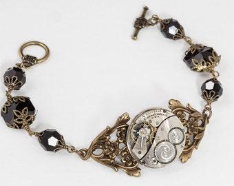 Steampunk Bracelet Vintage silver pocket watch movement with leaf & flowers gold filigree bracelet, black crystal beadwork bracelet