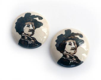Vintage Delft Rembrandt Cameo, hand-painted porcelain cabochon, brown/ivory, round - 22 mm - 2 pcs - A52-3