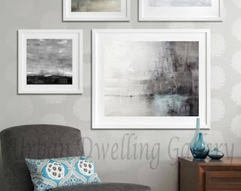 Abstract Art Print SET OF FOUR Digital Download 4 piece Art Collection Modern Art Contemporary Painting Blue Gray Black White Art Wall Decor