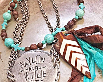 Waylon and Willie and the Boys... pendant, necklace