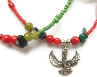 African Waist Beads, Maat Waist Beads, Winged Goddess of Justice Waist Beads, Ancient Egyptian Waist Beads, Beaded Waist Chain