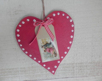 Red heart wooden hanging for my home
