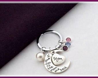 Mom Birthstone Keychain, Mom Personalized Keychain, Moms Silver Heart Keychain, Mother's Day Gift, Grandmas Pearl Keychain, Gift For Grandma
