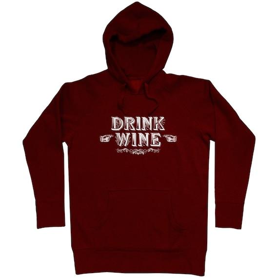Drink Wine Hoodie - Men S M L XL 2x 3x - Wine Hoody, Sweatshirt, Gift, Lover, Sommelier, Red, White - 4 Colors