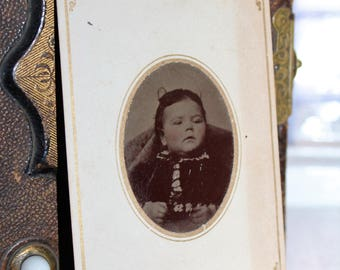 Antique Tin Type Photograph Victorian Girl 1800s