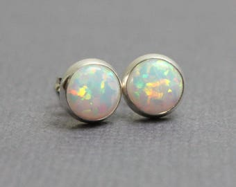 Opal Stud Earrings, Opal Earrings, Opal Post Earrings, 6mm Opal Earrings, Opal Studs, Opal Earrings, Kathy Bankston, Opal Jewelry, Earrings