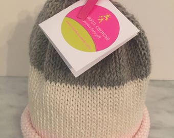 Pink Cream and Gray Baby Beanie