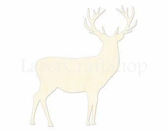 "2"" - 34"" Elk  Wooden Cutout Shape, Silhouette, Gift Tags Ornaments Laser Cut Birch Wood  #1021"