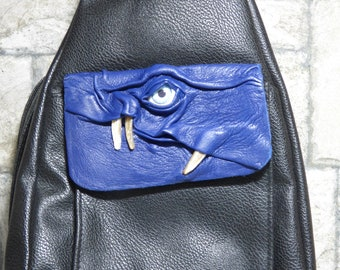 Leather Backpack Woman Purse With Face Monster Blue Black 426