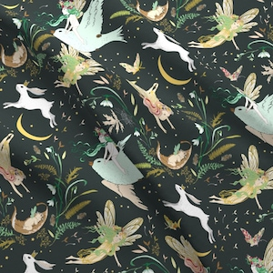 Fairy Tale Fabric - Enchanted Fairies (Pine) By Nouveau Bohemian - Fairy Tale Cotton Fabric By The Yard With Spoonflower