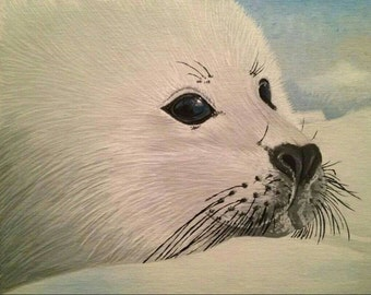 8in x 10in Acrylic Painting of a Harp Seal Pup