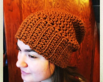 Crocheted Brown Slouchy Hat