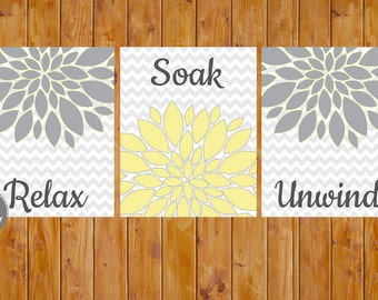Floral Flower Burst Gray Yellow Set of 3 Wall Decor Spa Bathroom  Relax Soak Unwind 8x10 DIY Printable Instant Download (91)