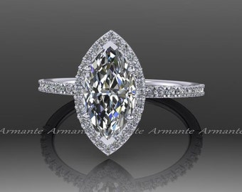 Marquise Engagement Ring, Moissanite and Diamond Ring, 14K White Gold Halo Wedding Ring, Unique Engagement Ring, RE169