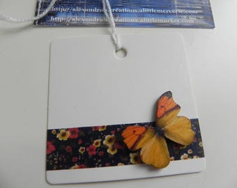 5 labels/markings glass square 6 cm BUTTERFLIES design