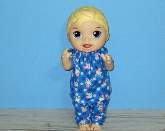 Baby Alive Snackin Luke ,Baby Alive Sweet Spoonfuls, Blue Bunny Pajama Set, Boy Doll Clothes, 12 13 inch Doll Clothes, Outfit
