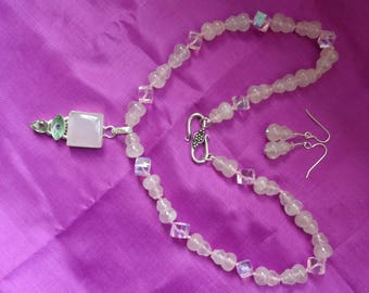 Exquisite Rose Quartz necklace set