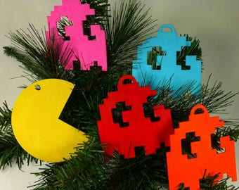 Pac-Man Ornament Set | PacMan Ghost Ornament | Nerd Gift | Hand Painted | Video Game | Geeky Gifts | Gift Exchange | Arcade | Classic Games