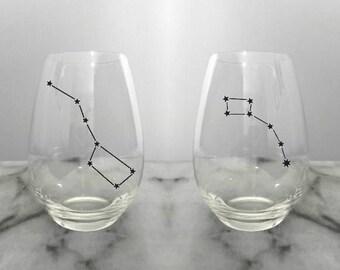 Big Dipper Little Dipper Wine Glass Pair - Stemless Wine Glass, Wine Gift, Customized Wine Glasses