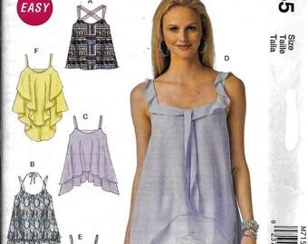 McCall's M7155 Summer Pullover Top Cami Ruffles Sewing Pattern 7155 UNCUT Size L, XL, XXL
