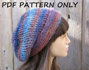 Crochet Hat - Slouchy  Hat, Crochet Pattern PDF,Easy, Pattern No. 47