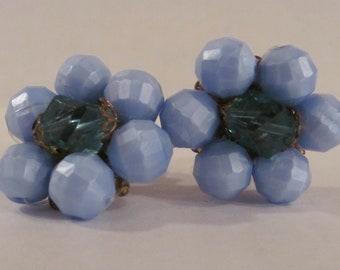 Retro Blue Bead Clip-On  Earrings