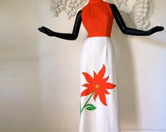 MOD Hippie Dress Vintage 1970s 70s Maxi Dress Bright Orange Flower Power Applique Hippy Festival Dress Sleeveless Summer Dress Size Small