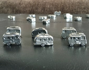 Silver Plated Solid Pewter RV Charms, Airstream Charms, Motorhome Charms, Camper Charms, Travel Trailer Charms, 50001