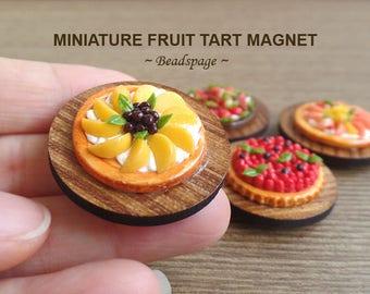 Miniature Fruit Tart Magnet, Fridge Magnet, White Board Magnet, Office Kitchen Cute Kawaii Accessories Decoration