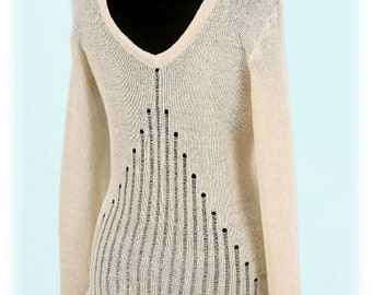 Natural 100% Linen knitted blouse ,,Hourglass'', openwork back, many colors, handmade, big neckline, Women clothing! Size (XS, S, M, L, XL)