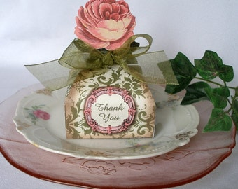 Rose Favor Box Printable Instant Download, Wedding, Anniversary, Birthday, Shower