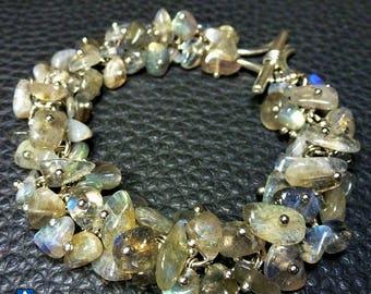 Delicate Natural Labradorite Nuggets & Plated Silver Bracelet