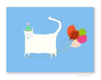 Birthday Cat Card - Balloon Legs - Funny Birthday Card - Cat Lover