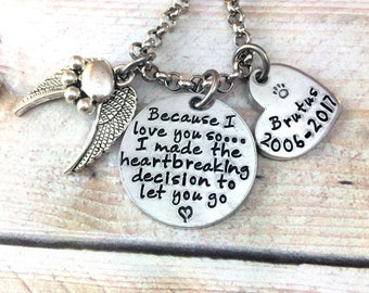 Pet Memorial Necklace, Dog Loss Jewelry, Cat Loss Jewelry, Bereavement Necklace, Because I love you so