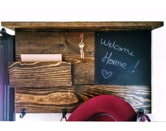 Entryway mail & key holder in reclaimed wood + chalk blackboard | Entryway organizer | Wooden Coat Rack shelf | Home Decor | Entryway Decor