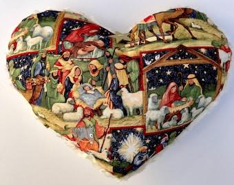 """Nativity Heart Pillow 11x13"""" white faux fur back"""