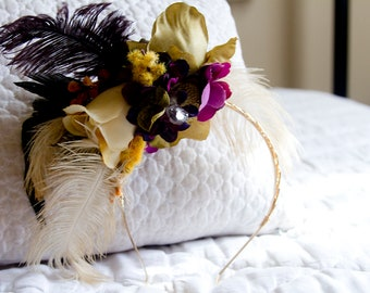 Rustic Feather and Flower Headband