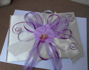 Guestbook artificial Orchid purple and purple - ivory