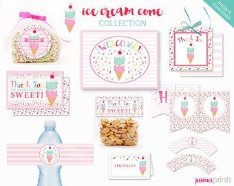 Instant Download Ice Cream Cone Printable Party Collection, Ice Cream Party Printables, Ice Cream Party Printable, Sprinkles Party Set