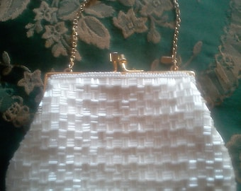 Vintage Evening purse 1960's Monet Pearlescent Beads