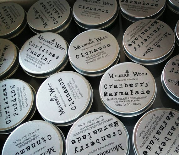 Travel Size Tin Scented Natural Soy Wax Candle Handmade in Scotland - Choose Scent - 20 hour burn