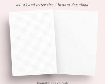 Dotted Grid Paper Student Note Taking Printable Set | A4, A5, Letter | Discbound Planner Notes, HandLettering Guide, Bullet Journal Paper