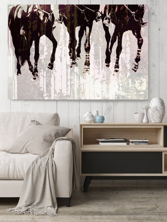 """Horse Jumping Show. Horse Art Large Canvas, Horse Art, Brown Rustic Horse, Rustic Vintage Horse Wall Art Print up to 81"""" by Irena Orlov"""