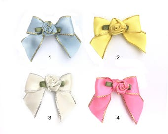 Satin Flower Bow, Butterfly Bow, Ribbon Bow, Sew On Flower, Flower Appliques, Fabric Rose Bud, Craft Embellishment, 40x40, 8E02EB, P083