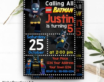 INSTANT DOWNLOAD - Lego Batman Invitations, Lego Birthday Invitation, Lego Invitation, Lego Party, Lego Batman Party, Lego Batman Birthday
